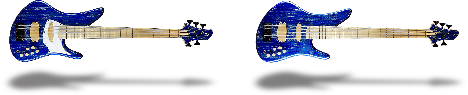 Prelude bass guitar with and without pickguard