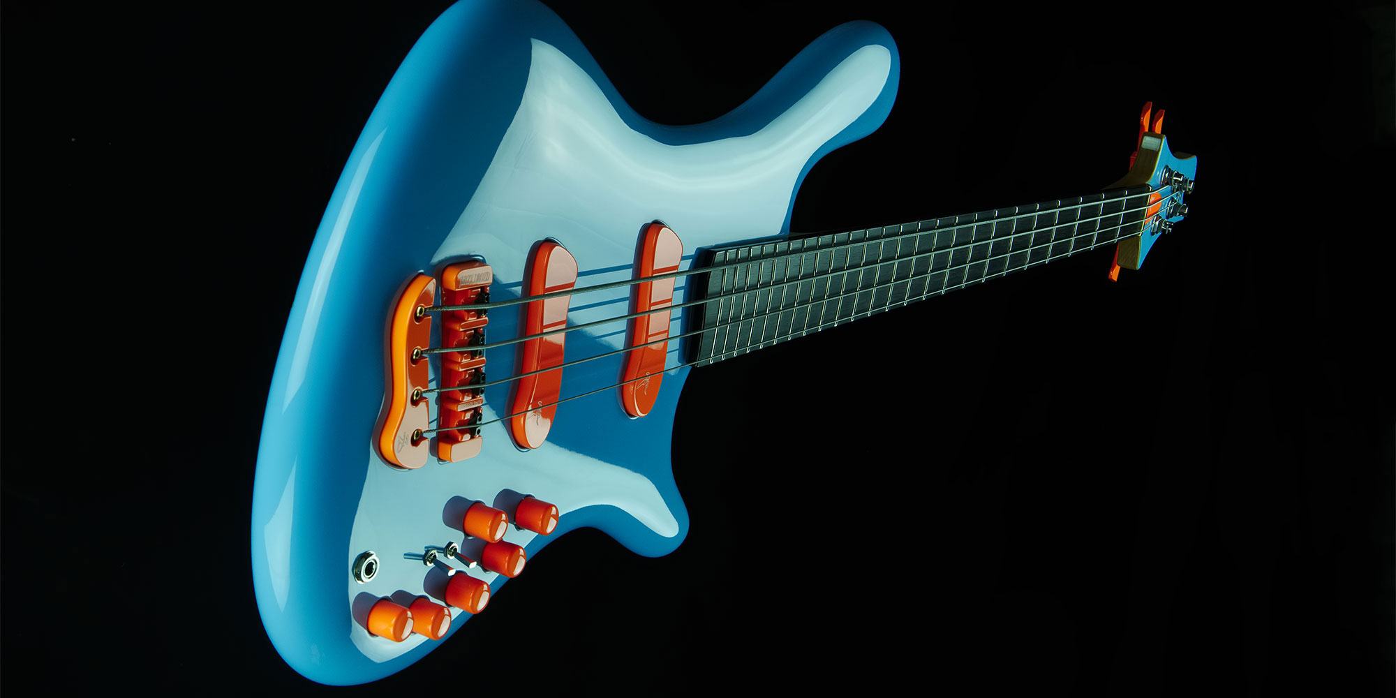 jerzy drozd soul blue orange 4 strings bass guitar banner 2